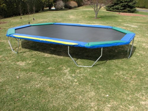 The Goliath Trampoline is a 16 ft x 24 ft Octagonal Trampoline