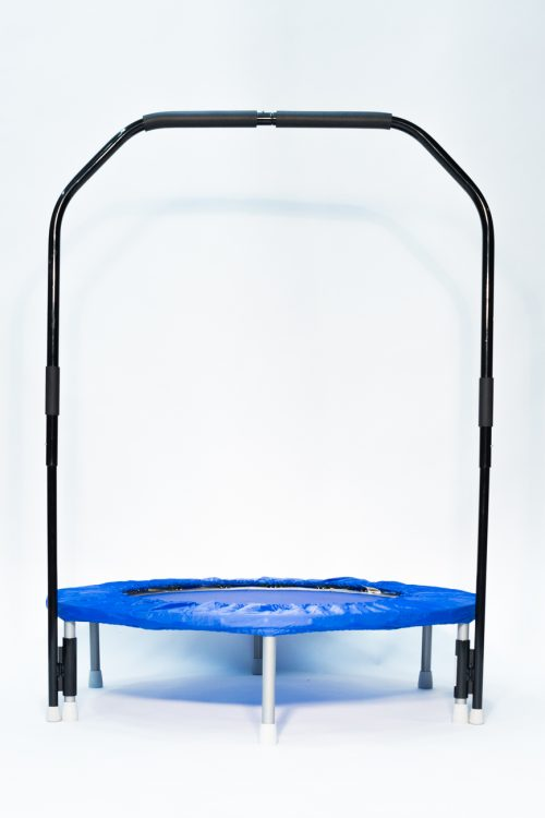 Needak Folding Blue Rebounder on display with handle bar